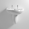 Milton 550 x 445 Wall Hung Basin with Semi Pedestal (2 Tap Hole) profile small image view 1