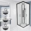Insignia Monochrome 900 x 900mm Square Corner Shower Cabin - MC90SQ profile small image view 1