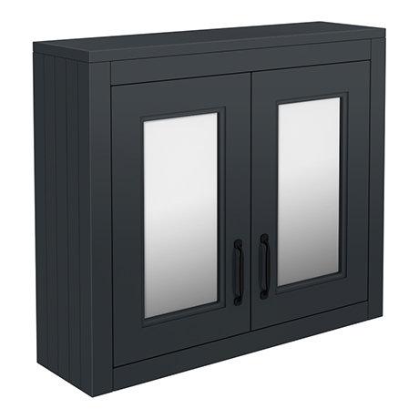 Chatsworth Graphite 2-Door Mirror Cabinet - 690mm Wide with Matt Black Handles