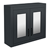 Chatsworth Graphite 2-Door Mirror Cabinet - 690mm Wide with Matt Black Handles profile small image view 1