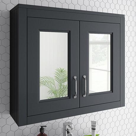 Chatsworth 690mm Graphite 2-Door Mirror Cabinet