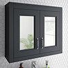 Chatsworth 690mm Graphite 2-Door Mirror Cabinet profile small image view 1