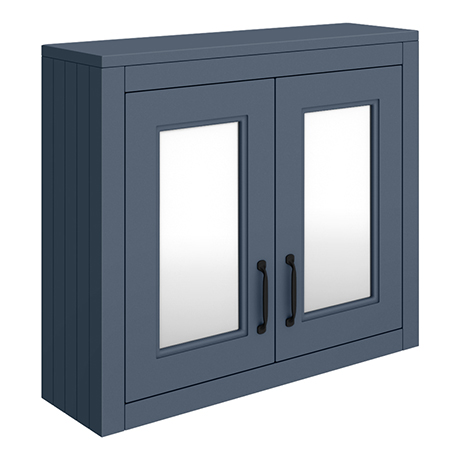 Chatsworth Blue 2-Door Mirror Cabinet - 690mm Wide with Matt Black Handles