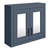 Chatsworth Blue 2-Door Mirror Cabinet - 690mm Wide with Matt Black Handles profile small image view 1