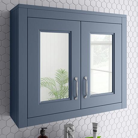Chatsworth 690mm Blue 2-Door Mirror Cabinet