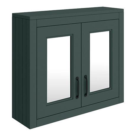 Chatsworth Green 2-Door Mirror Cabinet - 690mm Wide with Matt Black Handles