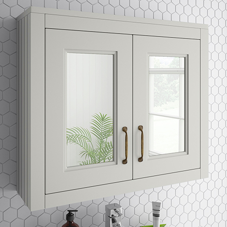 Chatsworth 690mm Grey 2-Door Mirror Cabinet