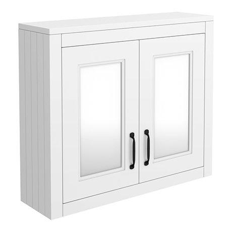Chatsworth White 2-Door Mirror Cabinet - 690mm Wide with Matt Black Handles