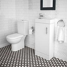 Minimalist Compact Floor Standing Vanity Unit + Knedlington Close Coupled Toilet Medium Image
