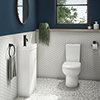 Milan Minimalist Compact Floor Standing Vanity Unit + Knedlington Close Coupled Toilet profile small image view 1
