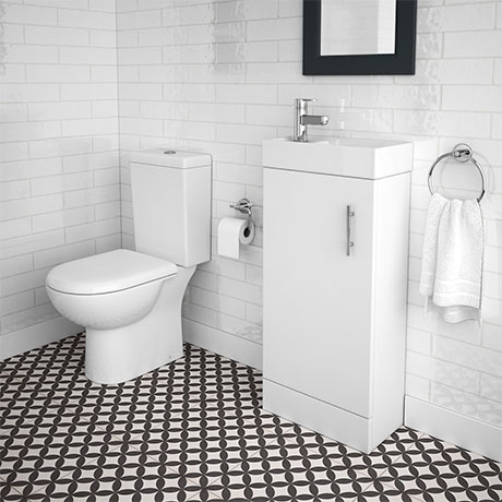 Minimalist Compact Floor Standing Vanity Unit + Knedlington Close Coupled Toilet