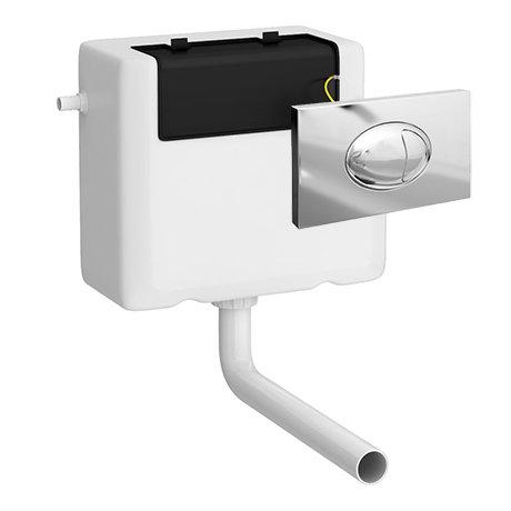 Milton Concealed WC Cistern + Large Chrome Push Button Plate