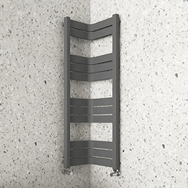 Milan Corner Anthracite 1200 x 300 x 300 Heated Towel Rail