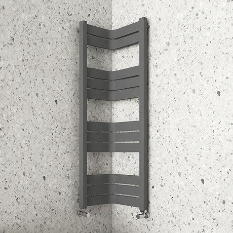 Milan Corner Anthracite 1200 x 300 x 300 Heated Towel Rail