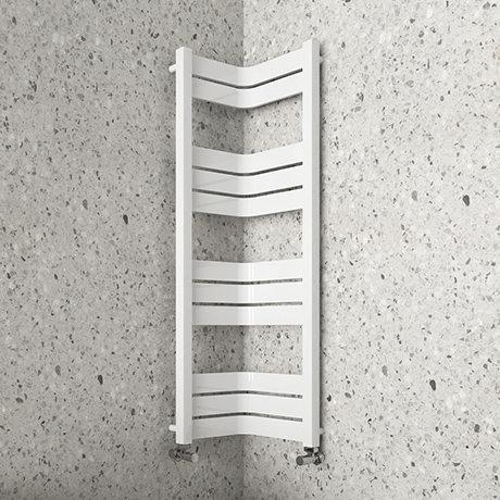Milan Corner White 1200 x 300 x 300 Heated Towel Rail