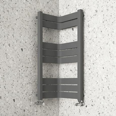 Milan Corner Anthracite 850 x 300 x 300 Heated Towel Rail