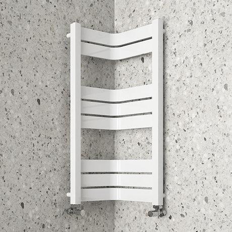 Milan Corner White 850 x 300 x 300 Heated Towel Rail