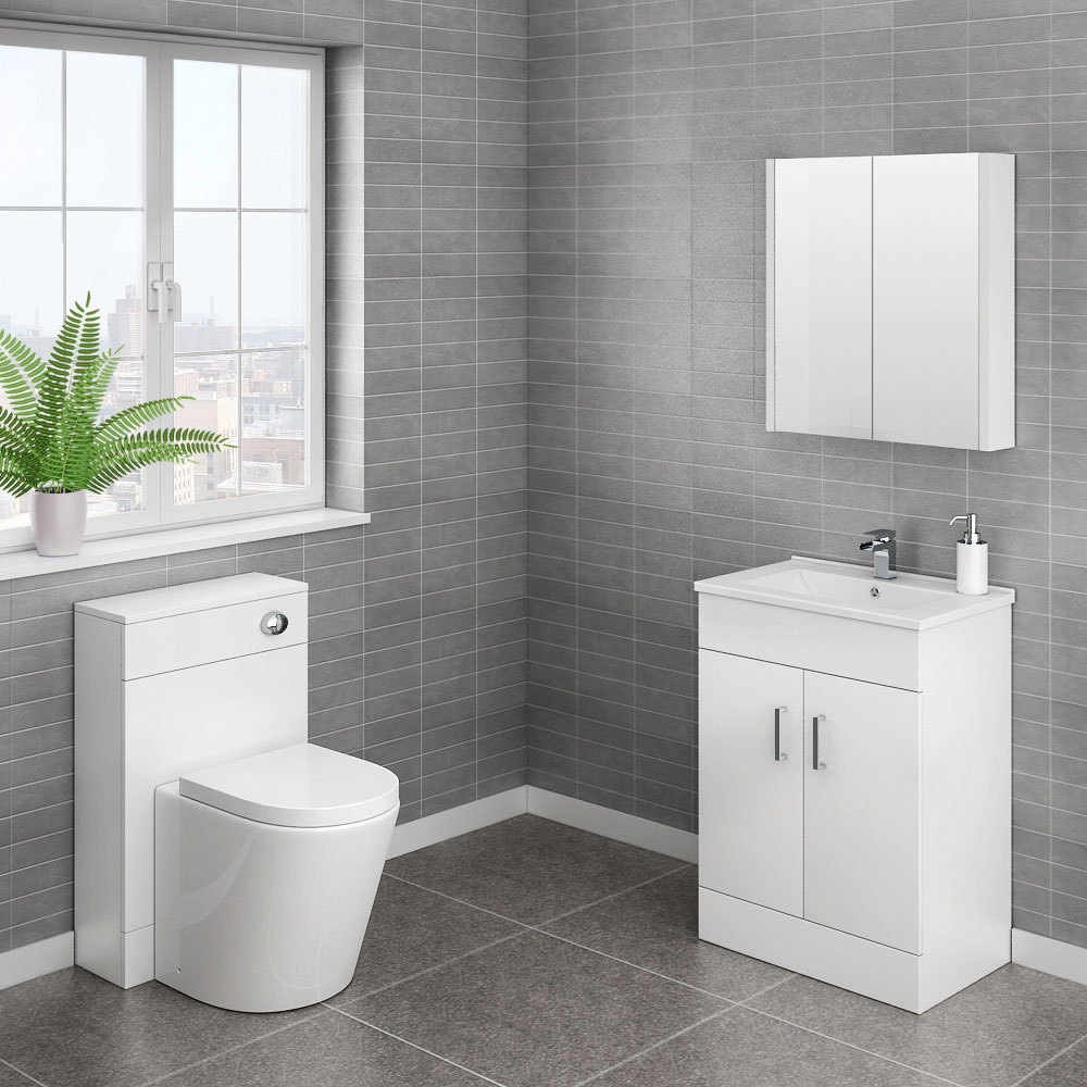 Turin Cloakroom Suite inc. Modern Toilet (White Gloss)