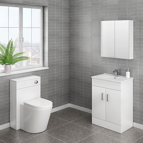 Turin Cloakroom Suite Inc. Solace Toilet (White Gloss)