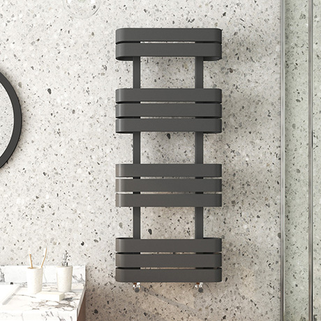 Milan Curved Anthracite 1200 x 500 Designer Flat Panel Heated Towel Rail - 11 Sections