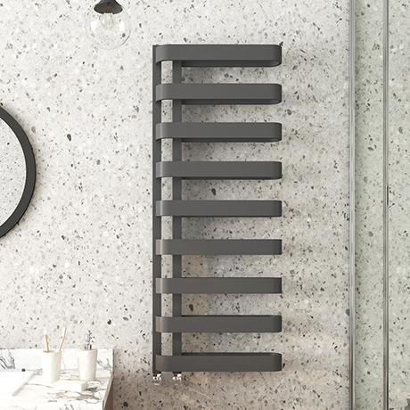Milan Curved Anthracite 1300 x 500 Designer Flat Panel Heated Towel Rail - 9 Sections