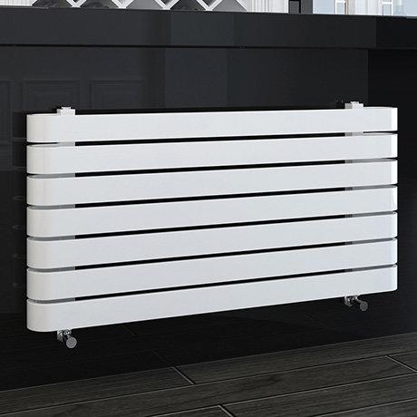 Milan Curved White 1000 x 500 Horizontal Designer Flat Panel Heated Towel Rail