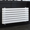 Milan Curved White 1000 x 500 Horizontal Designer Flat Panel Heated Towel Rail profile small image view 1