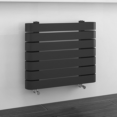 Milan Curved Anthracite 600 x 500 Horizontal Designer Flat Panel Heated Towel Rail