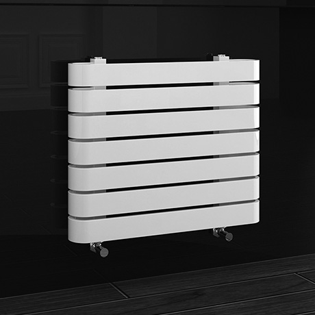 Milan Curved White 600 x 500 Horizontal Designer Flat Panel Heated Towel Rail
