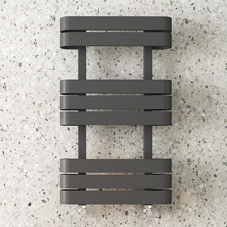 Milan Curved Anthracite 850 x 500 Designer Flat Panel Heated Towel Rail