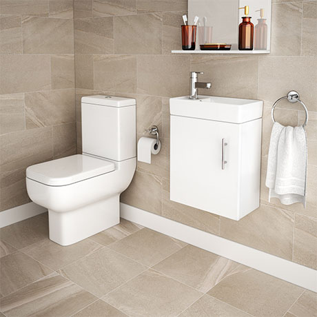 Minimalist Compact Wall Hung Vanity Unit + Series 600 Close Coupled Toilet