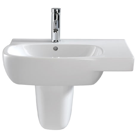 Twyford Moda Offset 650mm 1TH Washbasin & Semi Pedestal (Right Hand Shelf)