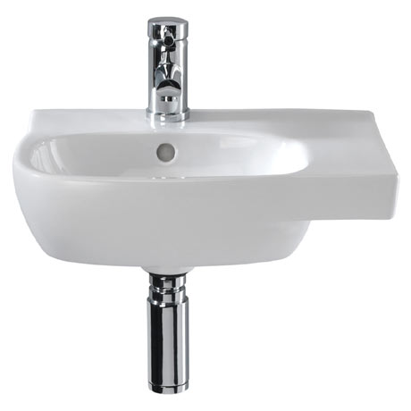 Twyford Moda Offset 450mm 1TH Washbasin (Right Hand Shelf)
