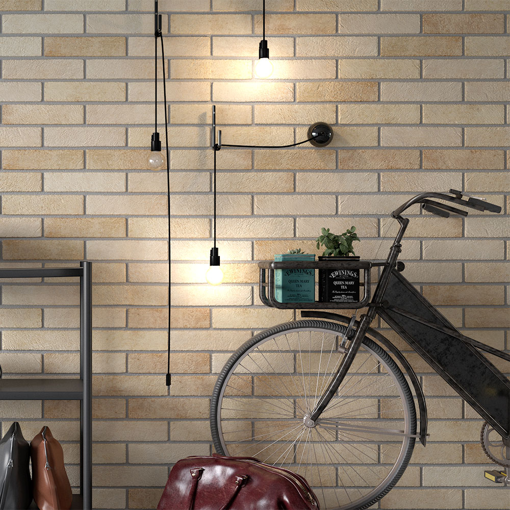 Melo Beige Rustic Brick Effect Wall Tiles - 250 x 60mm