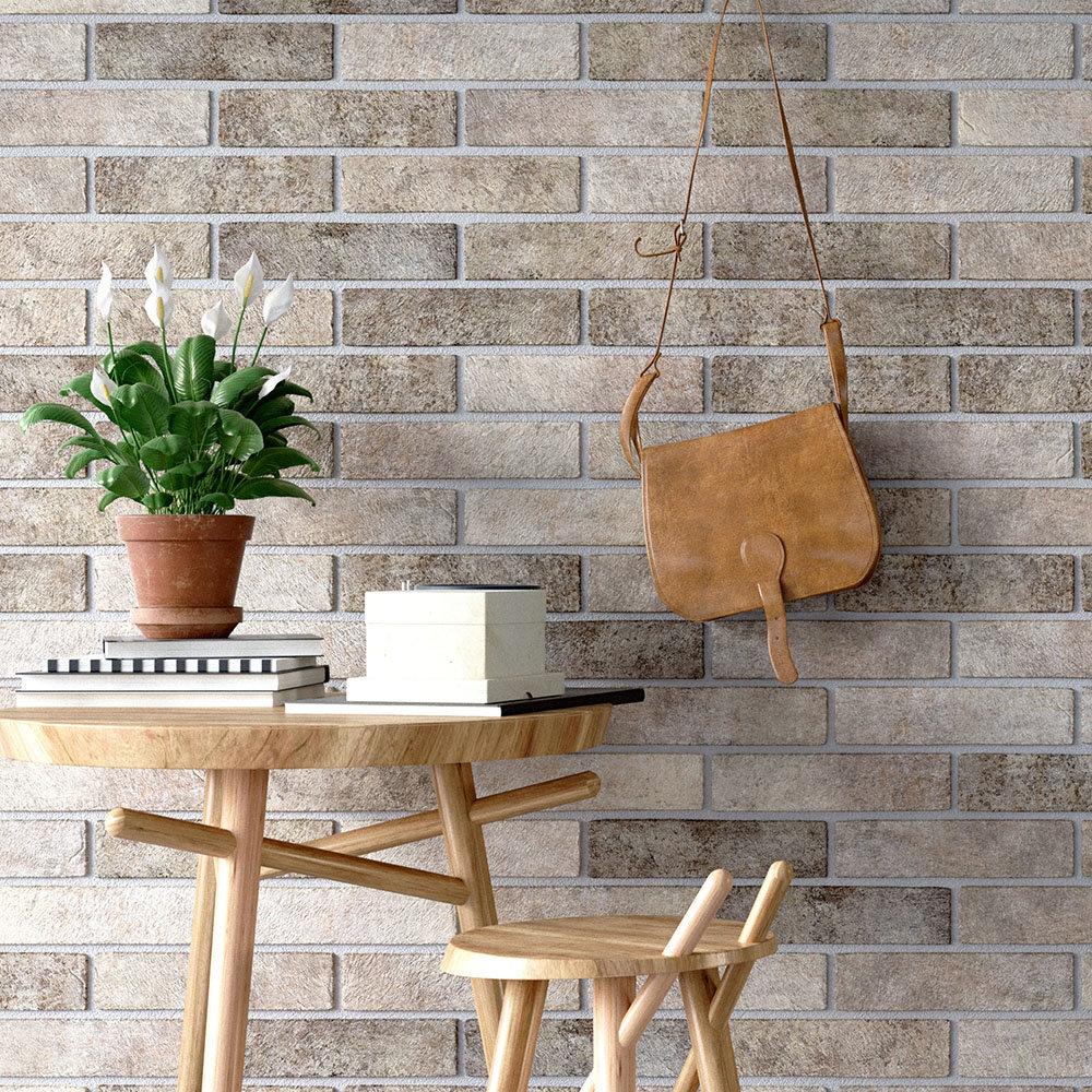 Melo Grey Rustic Brick Effect Wall Tiles - 250 x 60mm