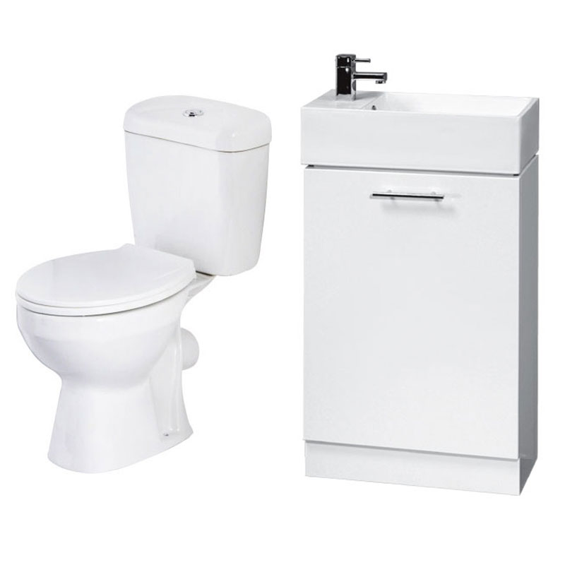Melbourne Close Coupled Toilet Inc. White Compact Cabinet + Basin Set profile large image view 1