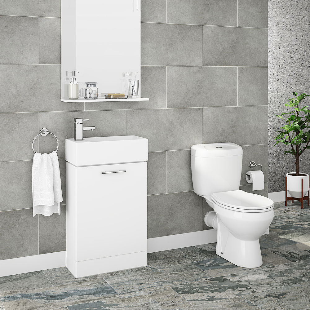 Melbourne Close Coupled Toilet With White Compact Cabinet