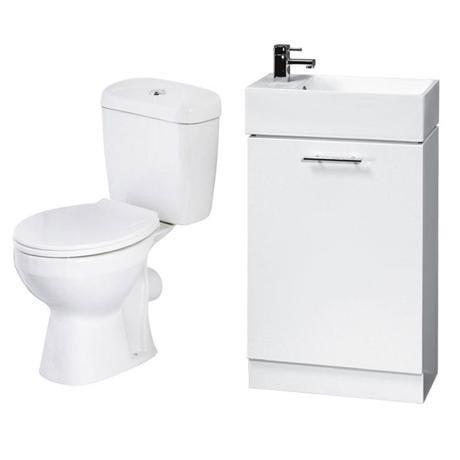 Melbourne Close Coupled Toilet Inc. White Compact Cabinet + Basin Set