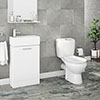 Melbourne Close Coupled Toilet inc. White Compact Cabinet + Basin Set profile small image view 1