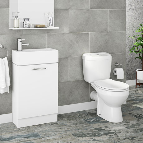 Melbourne Close Coupled Toilet Inc. White Compact Cabinet + Basin Set