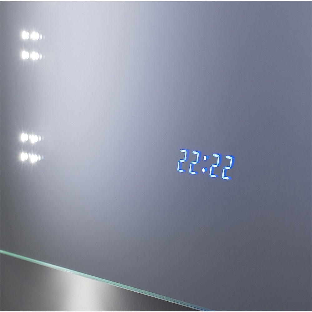 Bauhaus - Rio 2.0 LED Illuminated Mirror w/ Shaving Socket, Digital Clock & De-Mist Pad - MES8060B Feature Large Image