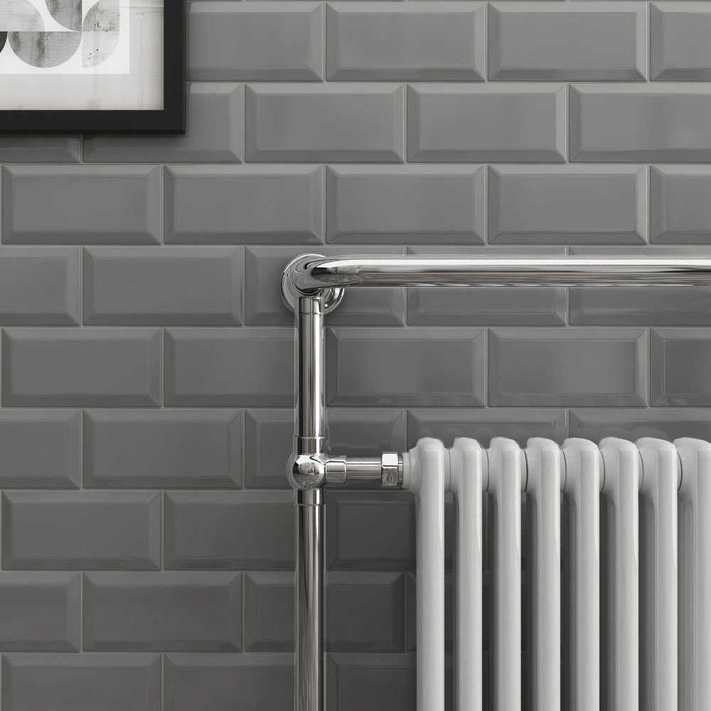 Victoria Metro Wall Tiles - Gloss Dark Grey | The Ultimate Guide To Grey Bathrooms