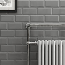 Victoria Metro Wall Tiles - Gloss Dark Grey - 20 x 10cm Medium Image
