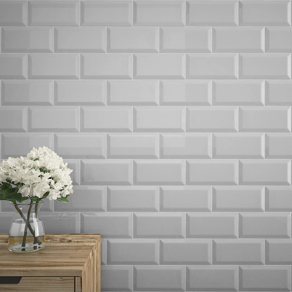 Victoria Metro Wall Tiles - Gloss Light Grey - 20 x 10cm  Profile Large Image