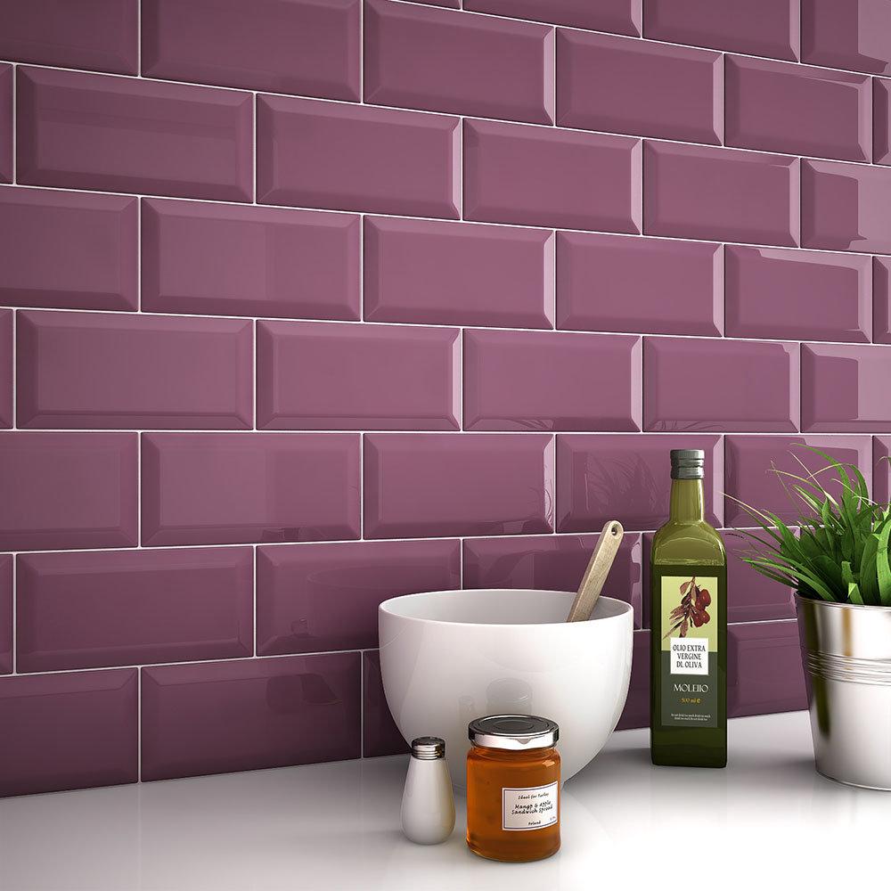 Victoria Metro Wall Tiles Gloss Plum 20 X 10cm