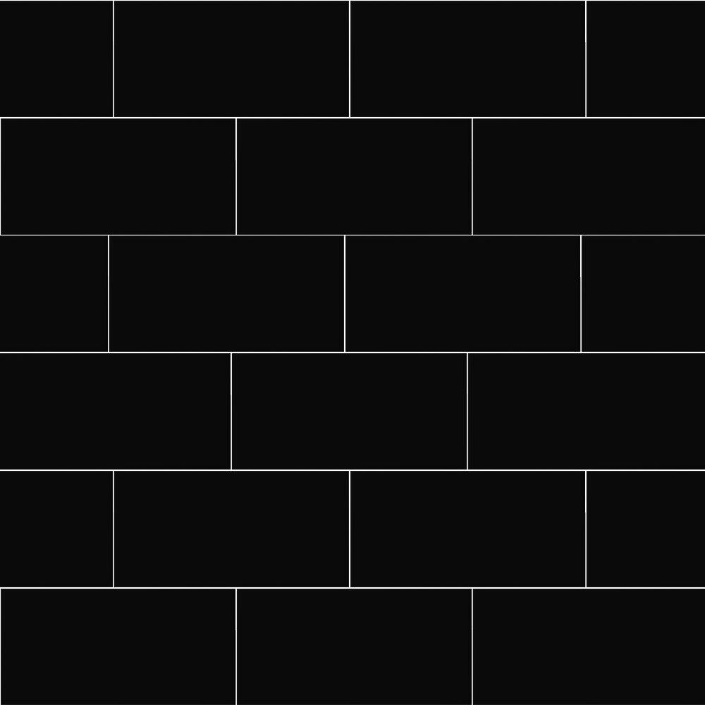 Metro Flat Wall Tiles - Gloss Black - 20 x 10cm  Profile Large Image