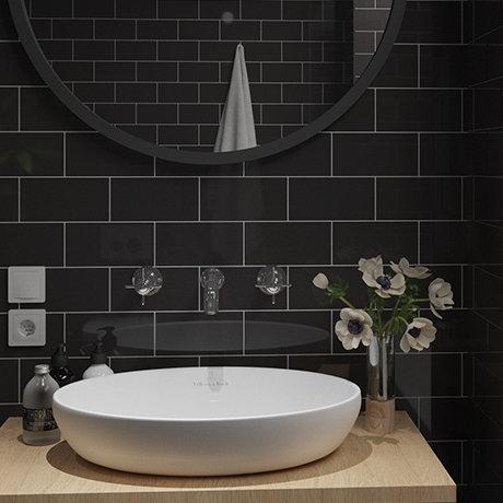 Metro Flat Wall Tiles - Gloss Black - 20 x 10cm