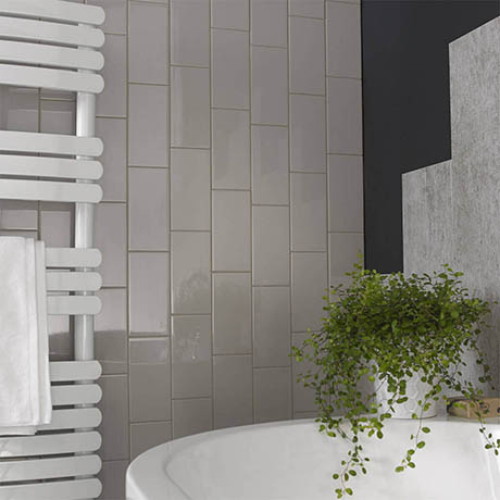 Metro Flat Wall Tiles - Gloss Grey - 20 x 10cm