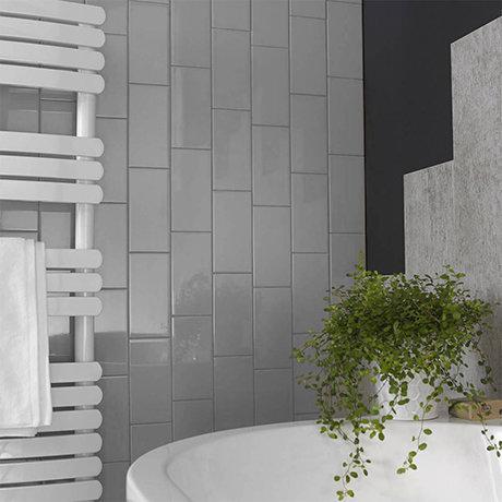 Metro Flat Wall Tiles - Gloss Grey - 20 x 10cm