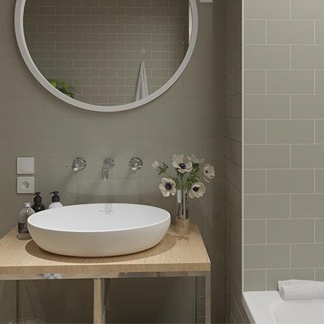 Metro Flat Wall Tiles - Gloss Olive - 20 x 10cm